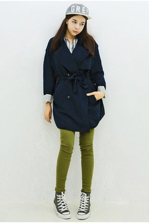 navy yubsshop coat - olive green yubsshop jeans - heather gray yubsshop hat