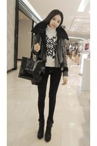 black yubsshop boots - black yubsshop jeans - charcoal gray yubsshop jacket