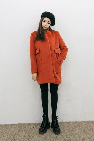 carrot orange yubsshop coat - black yubsshop boots - black yubsshop hat