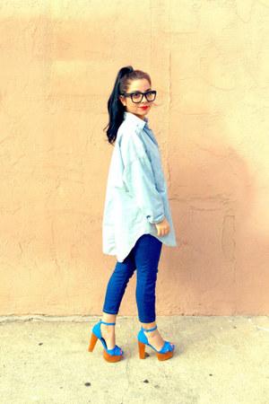 blue carmen heels Jeffrey Campbell heels - navy skinnies Forever21 jeans