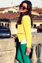 yellow Zara jacket - chartreuse Closed jeans - navy dior bag