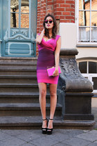 bubble gum herve leger dress - hot pink Sara Battaglia bag