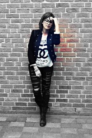 Steve Madden boots - H&M jeans - Strenesse blazer - 5Preview shirt - Yves Saint