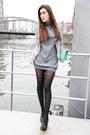 Gray-stefanel-dress-blue-patrizia-pepe-blazer