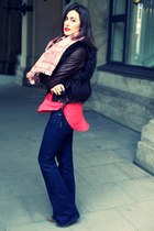 red haute hippie top - navy JBrand jeans - dark brown ZO LU jacket
