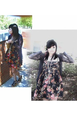 floral print xhilaration dress - caged Candies wedges - lace xhilaration cardiga