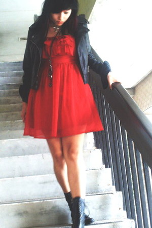 black biker Dolce Vita boots - red ruffled Fire and Ice dress - black leather Jo