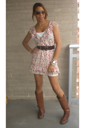 Zara dress - BCBGgirls belt - Zara boots