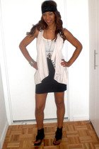 Hanes top - Zara vest - American Apparel skirt - shoes - H&M boots