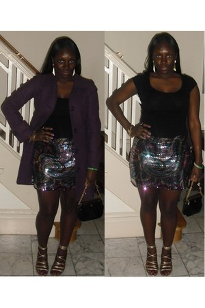 sequin free people skirt - black cotton H&M shirt