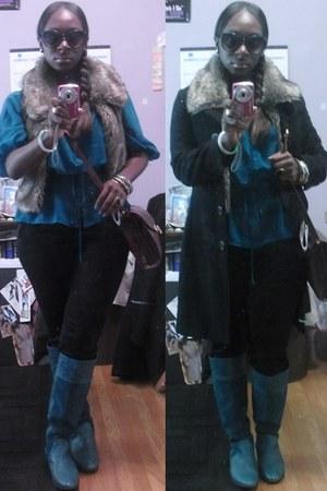 BC boots - Charles Hubert purse - sunglasses - kensie pants - H&M blouse