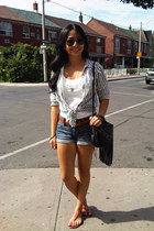 white H&M top - salmon Aldo shoes - stripe H&M shirt - denim H&M shorts