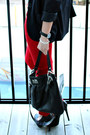Red-pants-black-forever-21-blazer-black-coach-bag-zig-zag-h-m-top