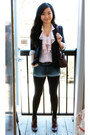 Dark-brown-zara-boots-navy-ann-taylor-blazer-crimson-vintage-bag