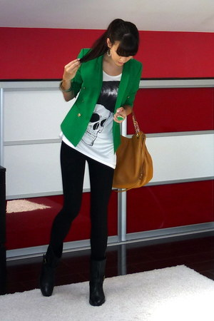 green Zara blazer - black Zara boots - tawny Michael Kors bag