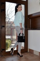 black christian dior bag - light blue H&M sweater - periwinkle Zara pants