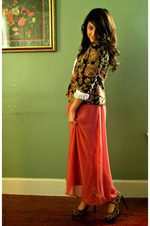 floral print jacket - salmon chiffon skirt