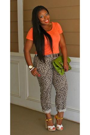 carrot orange Gap shirt - green Nine West bag - leopard print J Crew pants