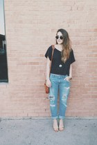 black crop top H&M shirt - sky blue Zara jeans - gold sandal Zara heels