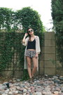 Floral-brandy-melville-shorts-sam-edelman-shoes-kimono-staring-at-stars-cape