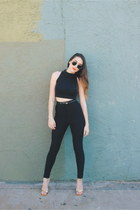 black American Apparel top - black riding American Apparel pants