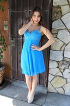 turquoise blue chiffon Msdressy dress - cream Balpain heels