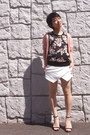 White-skort-zara-shorts-light-pink-cardigan-black-floral-top