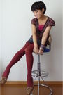 Shoes-brown-max-co-top-gap-skirt-red-tights