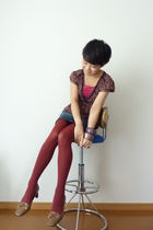 camel shoes - red tights - brown polka dot max&co top - bangles