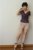 Zara shorts - Banna Republic necklace - brown top - brown shoes