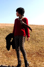 Black-ankle-nine-west-boots-black-onward-coat-red-mimi-roger-sweater