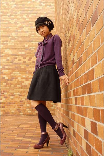 black hat - purple shoes - purple Laura Ashley scarf - purple socks