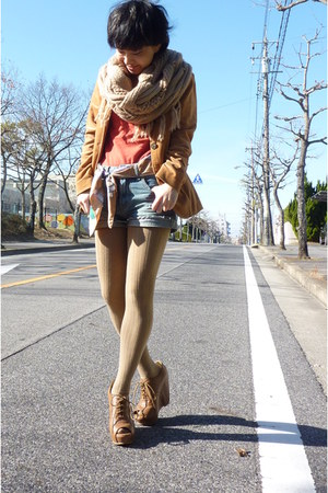 tawny blazer - carrot orange top - blue shorts - camel scarf - camel tights - br