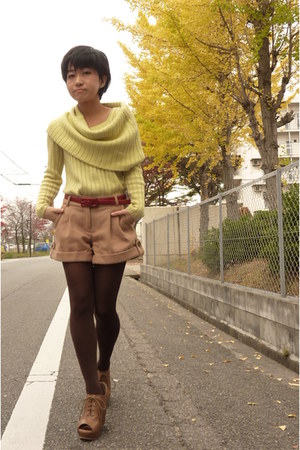 brown esperanza shoes - light yellow ICB sweater - brown tights