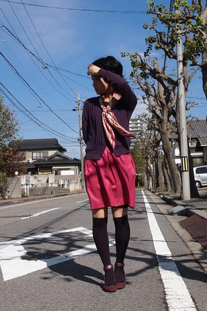 purple socks - pink scarf - pink skirt - purple cardigan