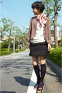 Dkny-scarf-white-t-shirt-black-skirt-black-socks-jacket
