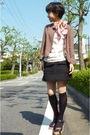 Dkny-scarf-white-t-shirt-black-skirt-black-socks-jacket