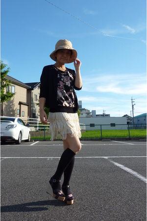 white skirt - black top - black cardigan - black socks - shoes