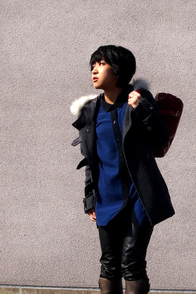 charcoal gray maxandco coat - heather gray boots - blue shirt