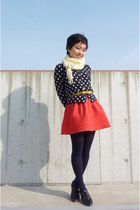 navy Steve Madden shoes - light yellow scarf - carrot orange H&M skirt