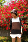 Brown-hat-white-skort-zara-shorts-black-cardigan-dark-brown-icb-top