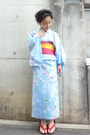 Sky-blue-yukata-dress-hot-pink-obi-belt-geta-sandals