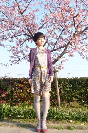silver knee high socks - magenta shoes - paisley dress - yellow JCrew belt