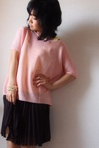 light pink Theory sweater - dark brown pleats skirt - light yellow Gap top