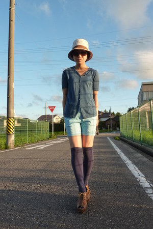 eggshell Nolleys hat - sky blue H&amp;M shorts - navy socks - from japan wedges - tu
