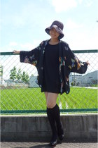 black Gap dress - black from japan hat - black kimono Zara jacket - black from j