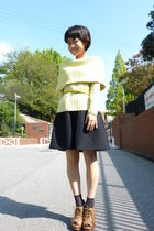 yellow sweater - yellow belt - black skirt - black socks - brown shoes