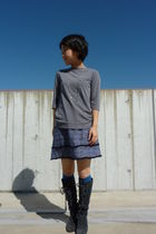 blue skirt - gray top - gray jillstuart - blue socks