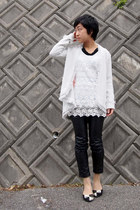 black from japan shoes - black faux leather pants - white lace top