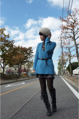 sky blue Gap sweater - beige laura ashley london hat - gray jillstuart boots - d